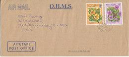 Aitutaki O.H.M.S. Cover Sent Air Mail To USA 28-6-1994 Topic Stamps Flowers - Aitutaki