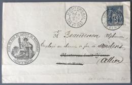 France N°90 Sur Lettre De Montereau 1892 + Timbre De Dimension à L'intérieur - Voir Scan - (W1592) - 1877-1920: Semi Modern Period