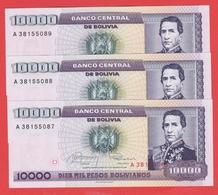 BOLIVIE - 3 Billets Avec N° De Serie Se Suivent 10.000 Pesos Bolivianos 10 02 1984  Pick 169 - Bolivia