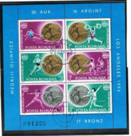 ROMANIA  - MI BL209.210  - 1984 OLYMPIC GAMES: RUMANIAN MEDALS  (COMPLET SET OF 2 BF) - USED  - RIF. CP. - Blocks & Kleinbögen