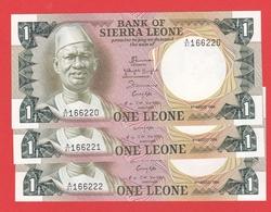 SIERRA  LEONE 3 Billets Avec N° Serie Se Suivent -1 Leone  04 08 1984  Pick 5e - Sierra Leone