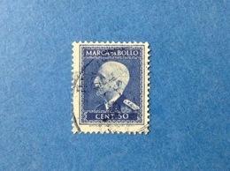 ITALIA REGNO VITTORIO EMANUELE III MARCA BOLLO 50 CENT SENZA FILIGRANA E FASCI USATA STEMPELMARKE FISCAUX TAX REVENUE - 1900-44 Vittorio Emanuele III
