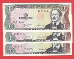 DOMINICAINE REPUBLIQUE Liasse De 3 Billets Avec N° Serie Se Suivent  - 1 Peso Oro De 1987  - Pick 126 - Dominicana