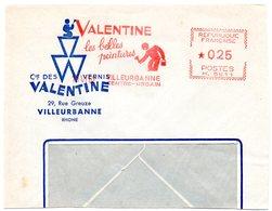 RHONE - Dépt N° 69 = VILLEURBANNE CENTRE URBAIN 1962 = EMA  Illustrée  =  Peintures VALENTINE - Marcophilie (Lettres)