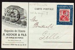SUISSE: Très Rare PORTE TIMBRE De La Maison A. Kocher & Fils La Chaux De Fonds Obl Sur.............. - Lettres & Documents