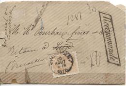 REF1237/ TP 33 S/L.recommandée C.BXL 30/8/1876 Griffe Recommandée V.Liège Recherche Destinataire Lettre Fatiguée - 1869-1883 Leopoldo II
