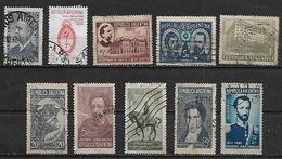 1941-2 Argentina Escudo-toro-banco Nacion-personajes-escarapela 10v. - Argentina