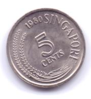 SINGAPORE 1980: 5 Cents, KM 2 - Singapore
