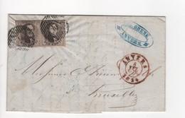 Brief ANVERS P4 Op OBP Nr. 10Ab Grijsbruin In Paar/paire 8 FEV 1854 Naar Bruxelles - Postmarks - Lines: Distributions