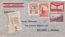 ARGENTINE ENVELOPPE CIRCULEE DE BUENOS AIRES A SAO PAULO, BRESIL, ANNEE 1942 RECOMMANDE PAR AVION -LILHU - Argentina