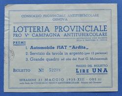 Biglietto Lotteria Provinciale Campagna Antitubercolare - Genova - 1935 - Lottery Tickets