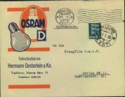 "1936, Very Attractive Envelope Advertising ""OSRAM"" Light Bulbs From TALLINN To Berlin - Estonie"
