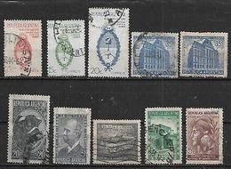 1942-3 Argentina Toro-escudos-correo Y Telecomunicaciones(telegrafo)-independencia-ahorro 10v. - Argentina