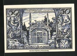 Notgeld Thale / Harz 1921, 50 Pfennig, Hexen, Teufelsmauer Walpurgishalle, Wappen - [11] Emissioni Locali