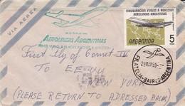 FIRST FLIGHT, AEROLINEAS ARGENTINAS PRIMER VUELO A NEW YORK AVIONES A REACCION. ARGENTINE SCP ANNEE 1959 -LILHU - Argentina