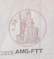 TRIESTE AMG FTT - CARTA BOLLATA L. 32 (1952)+ MARCA DA BOLLO CONCESSIONI GOVERNATIVE - DOCUMENTO COMPLETO 7/3/1953 - 7. Triest