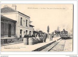 CPA 33 Belin La Gare Et Le Train Tramway Ligne De Facture Hostens - Francia