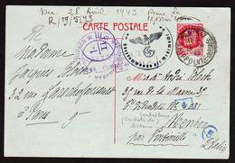 Guerre 1939/45: Occupation De Menton (Mentone 1940/43) RARE Entier De Pétain à 2F40 Pour L'Italie Mentone..... - Guerres