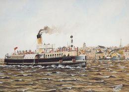 TSS Catherine London & Southend Railway Ship Painting Postcard - Barche