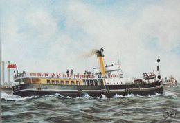 TSS Edith London Tilbury & Southend Railway Ship Painting Postcard - Barche