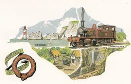 The Isle Of Wigan Central Railway Train To Shorwell Shanklin Chine Station Postcard - Chemins De Fer