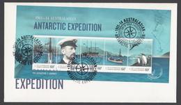AUSTRALIE AAT 2011 FDC Australasian Antarctic Expedition 1911 Departure & Journey (minisheet) - FDC