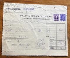 TRIESTE  - AMG FTT - MARCHE DA BOLLO SU DOCUMENTO  COMUNE DI (OBCINA) AURISINA DEL 2/1/52 - 7. Triest