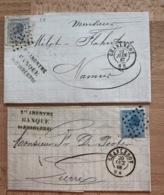 2 Plis Société Anonyme Banque De Charleroi 1x Vers Lierre 1x Vers Namur 1868 1867 2 Ports Différents (10c Et 20c) - 1865-1866 Linksprofil