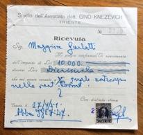 TRIESTE  - AMG FTT - MARCHE DA BOLLO SU DOCUMENTO : RICEVUTA STUDIO AVV. GINO KNEZEVICH  DEL 27/4/51 - 7. Triest