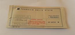 BIGLIETTO TRENO AGENZIA LEGNONE TOURS DA CHIAVENNA A PALERMO CENTRALE 1989 - Treni
