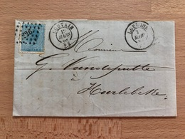 Pli Louvain Pt 226 13mars 1868 2S (doubles Cachets R) Vers Harlebeke 13mars 1868 8S Alphonse Gilbert Négociant à Louvain - 1865-1866 Profile Left