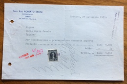 TRIESTE  - AMG FTT - MARCHE DA BOLLO SU DOCUMENTO : FATTURA DOTT.RAG.ROBERTO ERSINI - 21/9/53 - 7. Triest