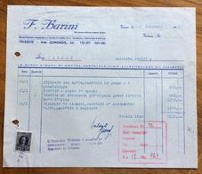 TRIESTE  - AMG FTT - MARCHE DA BOLLO SU DOCUMENTO : FATTURA F.BARINI IN DATA 2/2/55 - 7. Triest
