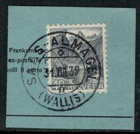 Suisse // Schweiz // Non Classée // Valais //  Oblitération Valaisanne Sur Fragment, Saas-Almagel - Ohne Zuordnung