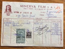 TRIESTE  - AMG FTT - MARCHE DA BOLLO SU DOCUMENTO : FATTURA  MINERVA FILM DEL 9/1/50 - 7. Triest