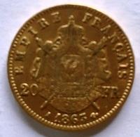 20 Francs Napoléon III Tête Laurée (A) - Or - 1863 TTB/SUP - Frankrijk