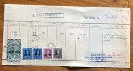 TRIESTE  - AMG FTT - MARCHE DA BOLLO SU DOCUMENTO : FATTURA  ENTE NAZ. INDUSTRIE CINEMATOGRAFICHE DEL 1/5/51 - 7. Triest