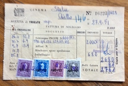 TRIESTE  - AMG FTT - MARCHE DA BOLLO SU DOCUMENTO : FATTURA  SETTIMANA INCOM DEL 27/9/51 - 7. Triest