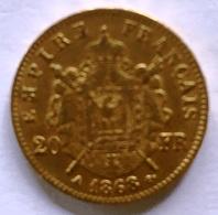 20 Francs Napoléon III Tête Laurée (A) - Or - 1868 TTB/SUP - Frankrijk