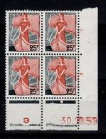 Coin Daté - YV 1216 N** Du 30.10.59 , 1 Point - Ecken (Datum)