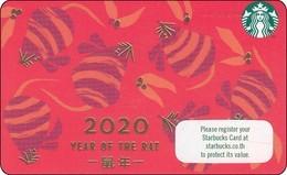 Thailand Starbucks Card Zodiak Horoskop 2020 Year Of The Rat - 2019 - 6175 - Gift Cards