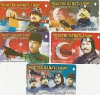 Turkey, TR-TT-N-0160 - 0164, Set Of 5 Cards,  Altın Kanatlar, Airplanes, Pilots, 2 Scans, - Turchia