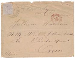 """1880 - LETTRE COVER CASTELLON DE AMPURIAS ? SPAIN Pour ORAN ALGERIE CACHET ROUGE """" ESPAGNE CERBERE / PERPIGNAN """" FRANCE - 1875-1882 Regno: Alfonso XII"""