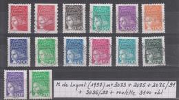 France Marianne De Luquet (1997)  Y/T N°3083 + 3085 + 3086/91 + 3096/99 + Roulette 3100 Oblitérés - 1997-04 Marianne Du 14 Juillet