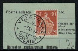 Suisse // Schweiz // Non Classée // Valais //  Oblitération Valaisanne Sur Fragment, Veysonnaz - Ohne Zuordnung