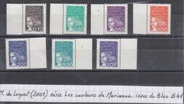 France Luquet (2001) Les Couleurs De Marianne Y/T N° 3086/90 + 3097 + 3099 **  Type II Sans Phosphore Issus Du Bloc B41 - 1997-04 Marianne Of July 14th