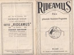 V1 - RIDEAMUS 1910?/1920? - Programm Mit Zusatzblatt, Wien Mariahilferstrasse 105 (Rideamus, Lasst Uns Lachen) - Programma's