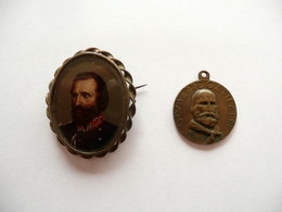 Garibaldi Spilla Medaglia Metallica Cinquantenario Morte Risorgimento Storia - Jetons & Médailles