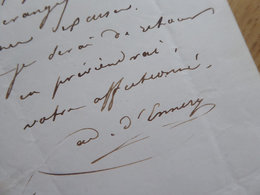 Adolphe D'ENNERY (1811-1899) Romancier & Auteur Dramatique. Les Deux Orphelines - AUTOGRAPHE - Autographs