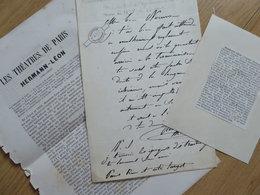 Léonard HERMANN LEON (1814-1858) BARYTON Opera & PEINTRE Paysagiste - AUTOGRAPHE - Autographs